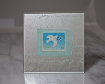 Peace Dove ~ UN International Year of Peace Framed Vintage Canadian Postage Stamp