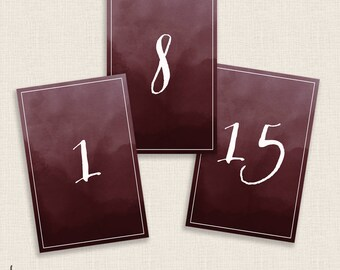 BURGUNDY - DIY Printable Table Numbers  - 4x6 Digital Design - Numbers 1-20 - Painted Watercolor and Calligraphy - Instant Download