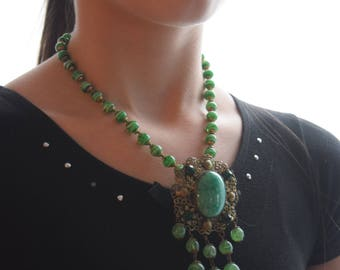 Antique Deco PEKING Glass Pendant Necklace,  3 Looks in One OOAK Piece, Removable Brooch, jewelry gift for her