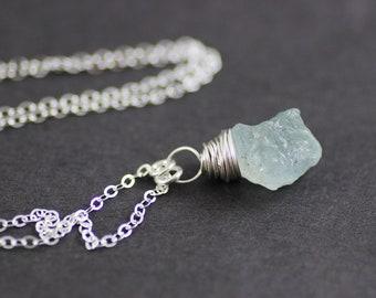 Raw Aquamarine Necklace, Aquamarine Gemstone Necklace, Light Sky Blue Necklace, Sterling Silver Necklace, Silver Aquamarine Necklace