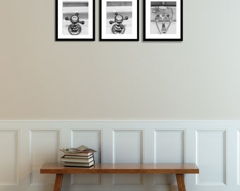 French Bathroom Art, Hot And Cold Faucet Set Of 3, Black And White  Photography