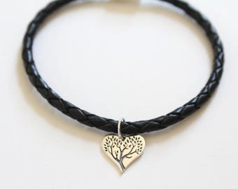 Leather Bracelet with Sterling Silver Family Tree Heart Charm, Family Tree Bracelet, Family Tree Heart Charm Bracelet, Tree of Life Bracelet