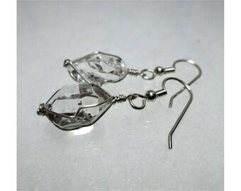 """ww1271 - 1/2""""+ Wirewrap HERKIMER DIAMOND EARRINGS - Argentium Sterling Silver"""
