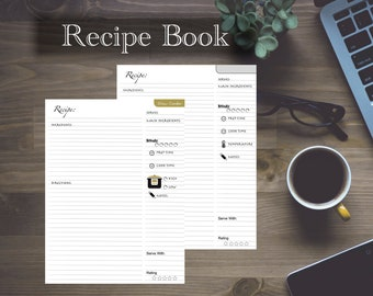 Cook book / Recipe book / Journal / Recipe pages / Grocery list / Shopping list / Meal notes / Refills / Insert: Classic 7 x 9.25 - Disc bou