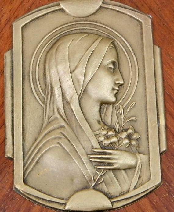 Vintage Art Deco French Bas Relief of St Theresa Brass and