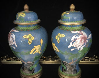 Vintage Chinese Cloisonne Vase Cloisonne Urn Blue Enameled Vase With Lid Lidded Vase Asian Oriental Vase Cloisonne Bowl Antique Brass Vase