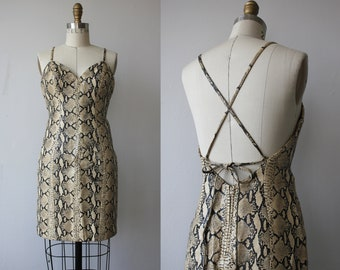 Vintage 1980er Kleid / 80er Jahre Leder-Kleid / 80er Jahre Körper Con Kleid / 1980er Jahre Michael Hoban Nordstrand Leder Kleid / 80er Jahre Schlangenhaut Kleid / Xs-s