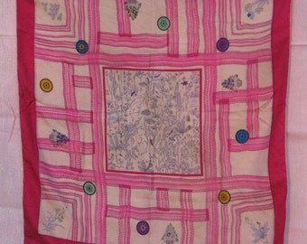 Silky Scarf / Vintage Scarf with Rolled Hem / All Shades of Pink / Wildflower Center
