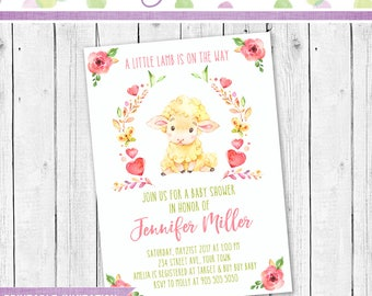 Baby Shower Invitation, Lamb Invitation, Baby Shower Party Invite, Baby shower little lamb invitation, Baby Shower party invitation
