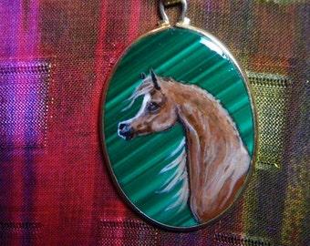 Chestnut Arabian Horse Handpainted Necklace Pendant