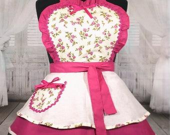 Antique Rose Pink and Cream Retro Cute Diner Apron XL Handmade