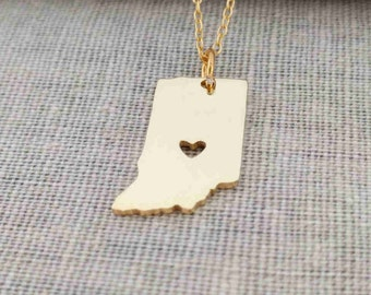 Gold Indiana Necklace,Indiana State Necklace with A Heart,Indiana State Love Necklace ,Custom IN State Charm Silver With 18K Gold Plated