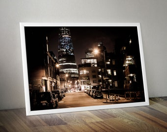 """The Shard and Union Street by Night"""" London. City Skyline Wall Art Large Oversized Photo -  for Living Room, Kitchen or Office"""