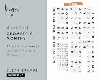 STMP-4X6-035 - Geometric Months + Date Calendar | Planner and Journal Clear Stamp Kit | 4x6""