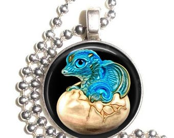 Blue Baby Dragon in Egg Altered Art Photo Pendant, Earrings and/or Keychain Round, Silver and Resin Charm Jewelry