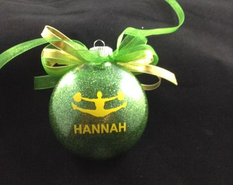 Cheerleader Glitter Christmas Ornament