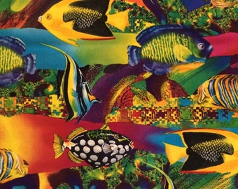 Tropical Fish Fabric / Reef Fish / Ocean / Shamash and Sons  / 100% Cotton / Sold by the yard