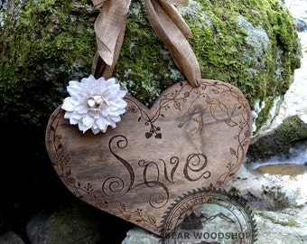 """Large Rustic Wood Heart 18"""" x 16"""" - Wedding Decoration or Valentines Day Wreath"""