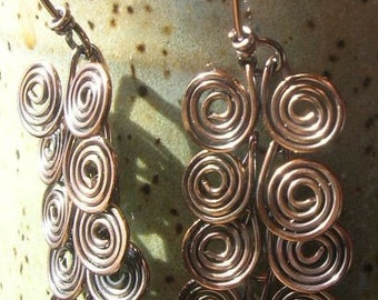 Egyptain Spiral earrings in copper