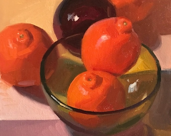"Art painting fruit orange still life by Sarah Sedwick ""Room For Two"" 8x8 oil on canvas"
