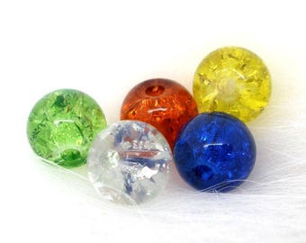 lot x 10 mixed beads Craquelees insert glass round 6mm multicolor design jewelry