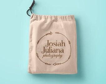 Custom logo printed merchandise bags muslin drawstring pouch custom bags custom gift bags flat merchandise bag inexpensive wedding favor bag