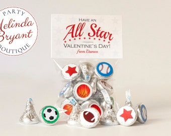 Sports Themed Personalized Valentine Card Sticker Kits for Hershey Kisses
