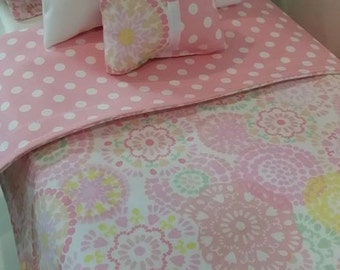 "18"" Doll Bedding Set, Pastel Doll Bedding, Made to Fit 18"" Dolls Such as The American Girl Dolls"