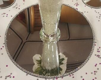 Crystal mirror, diamante mirror, pearl mirror, round mirror, circular mirror, medium mirror, wedding centre piece, wedding table decoration