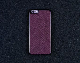 Aubergine Salmon Leather iPhone Case - iPhone 8/7/6S/6 - Made in Germany by Icecase