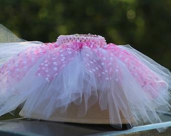 Pink and white polka dot tutu