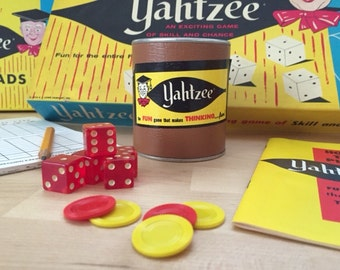 Vintage 1967 Third Edition Yahtzee Dice Game with Bonus Extra Box of Score Pads, Lowe Company Family Gaming Fun