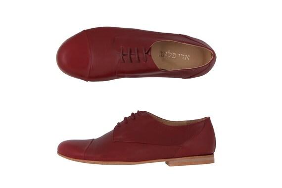 handmade womens Flat shoes sale ADIKILAV Burgundy on Leather shoes g1RqxI