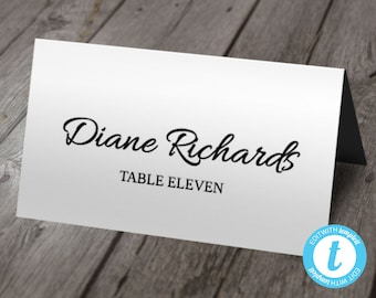 Printable Place Card Template | Wedding Place Cards | Instant DOWNLOAD | Edit Right In Your Browser | Flat or Folded