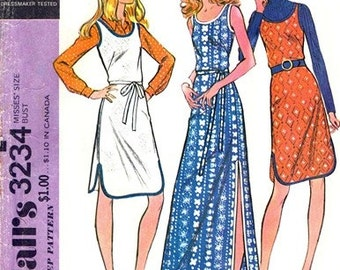 McCall's 3234 Afternoon Delight Dress or Jumper 1972 / SZ8 UNCUT