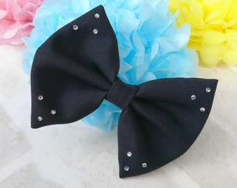 Supersized fabric bow with sparkles - navy bow - fabric hair bow - hair bow for teens - girls