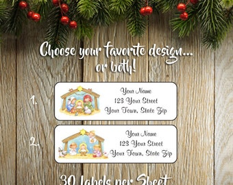 Personalized CHRISTMAS NATIVITY Scene Address LABELS, Mary, Baby Jesus, Sets of 30