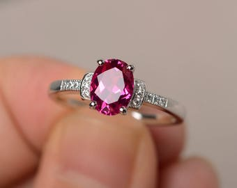 Lab Ruby Engagement Wedding Ring Sterling Silver Ring Oval Cut Red Gemstone Ring July Birthstone Ring