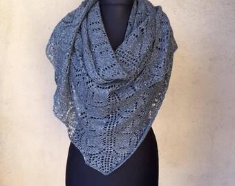 Elegant shawl hand knitted