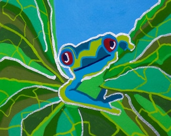 Red Eye Tree Frog Gouache Painting, Frog Gouache Painting, Rainforest Frog Painting