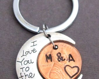 Penny Keychain I Love You,Love You to the Moon Keychain Personalized Penny Anniversary Gift ,Couples Gift, Free Shipping USA