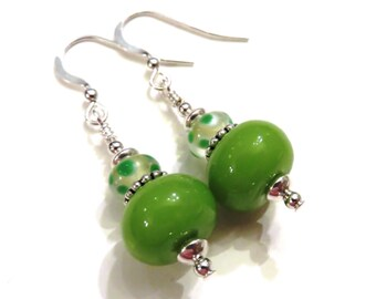 Green Polka Dot Lampwork Earrings, Green Earrings, Lampwork Jewelry, Green Glass Earrings, Dangle Earrings, Green Lampwork, Green Dangle