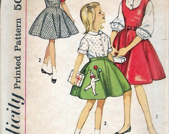 """Vintage 1962 Simplicity 4236 Girl's Jumper, Skirt & Blouses Sewing Pattern Size 12 Breast 30"""""""