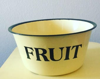 Black and cream enamel fruit bowl.