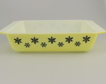 Vintage Pyrex JAJ Gaiety Snowflake, Yellow black, Space Saver Oven Dish, oblong cookware, 1960s, JA Jobling, mid century