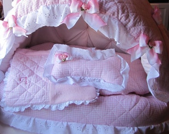 Pink Gingham and Eyelet Princess or Prince Pet Bed