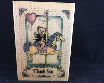 Carousel Thank You Limited Edition 1989 Used Rubber stamp Hero Arts