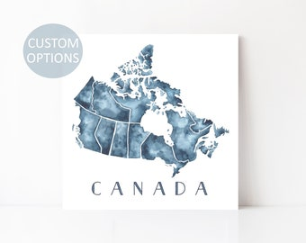 canada map canada provinces canadian art print canada wall art map of canada canada gift gift for friend moving away long distance