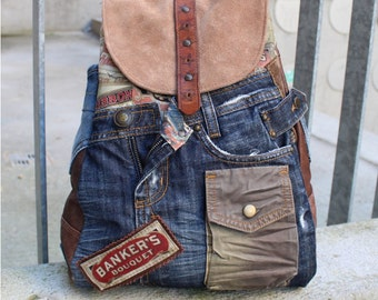 Backpack, leather, jeans, traveller, Upcycling
