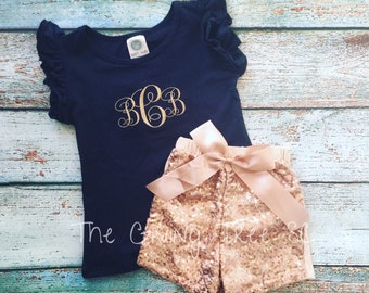 SALE Girls Monogrammed Outfit, Monogrammed Ruffle Top, Sequin Shorts, Boutique Outfit, Monogram Tee, Sequined, Monogrammed Outfit, Monogram
